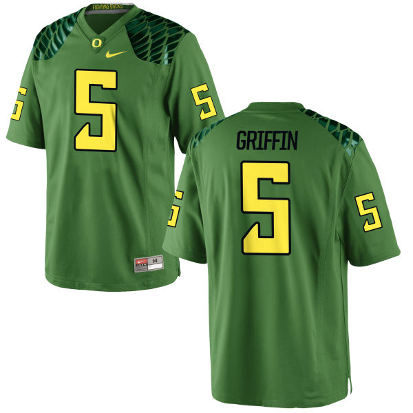 Men's Nike Taj Griffin Oregon Ducks Game Green Alternate Football Jersey Apple