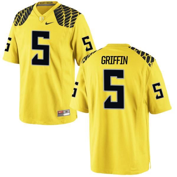 Men's Nike Taj Griffin Oregon Ducks Game Gold Football Jersey