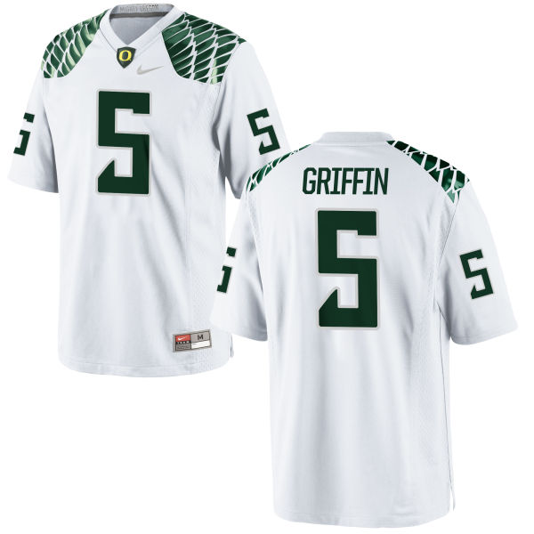 Youth Nike Taj Griffin Oregon Ducks Replica White Football Jersey