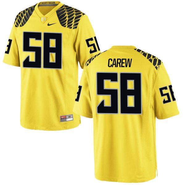 Men's Nike Tanner Carew Oregon Ducks Authentic Gold Football Jersey