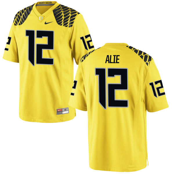 Men's Nike Taylor Alie Oregon Ducks Game Gold Football Jersey