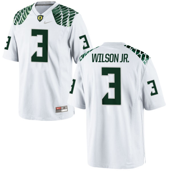 Men's Nike Terry Wilson Jr. Oregon Ducks Game White Football Jersey