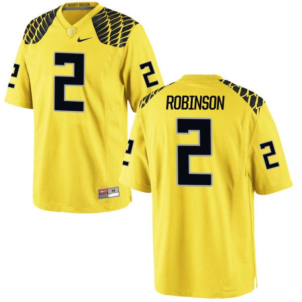 Men's Nike Tyree Robinson Oregon Ducks Game Gold Football Jersey