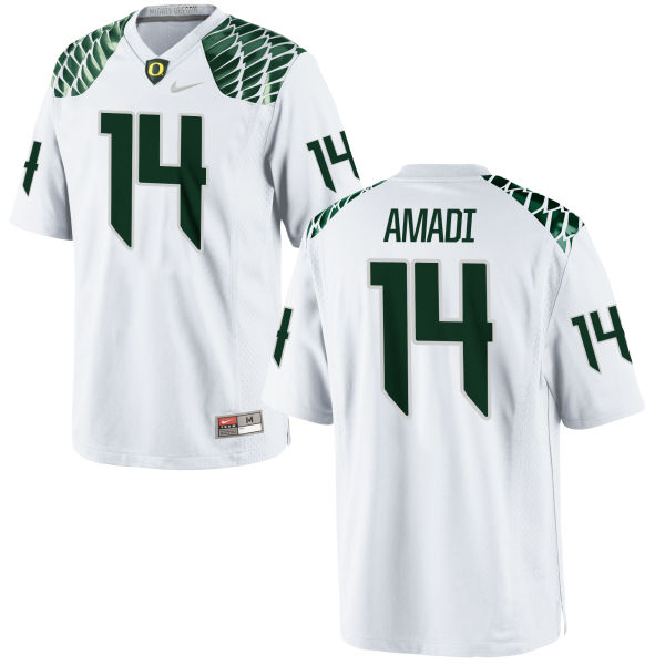 Men's Nike Ugo Amadi Oregon Ducks Replica White Football Jersey