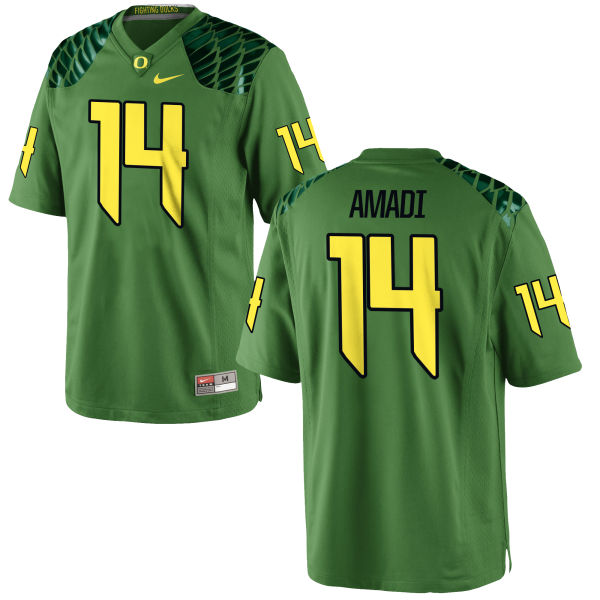Men's Nike Ugo Amadi Oregon Ducks Replica Green Alternate Football Jersey Apple