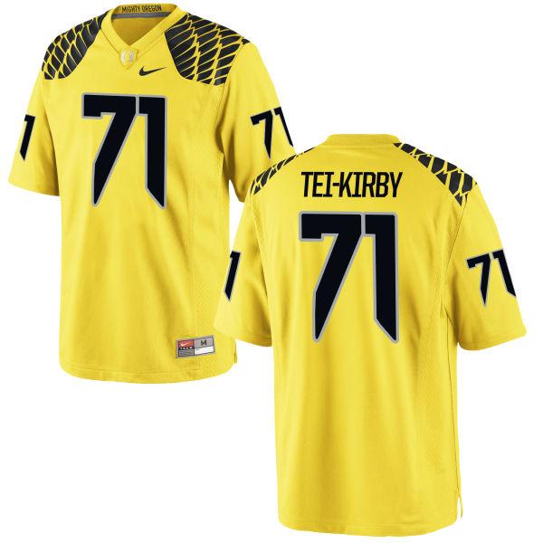 Men's Nike Wayne Tei-Kirby Oregon Ducks Game Gold Football Jersey