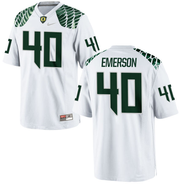 Men's Nike Zach Emerson Oregon Ducks Game White Football Jersey