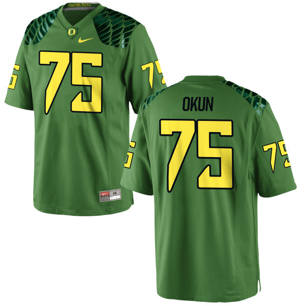 Men's Nike Zach Okun Oregon Ducks Authentic Green Alternate Football Jersey Apple