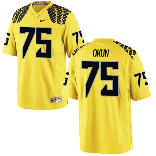 Men's Nike Zach Okun Oregon Ducks Authentic Gold Football Jersey