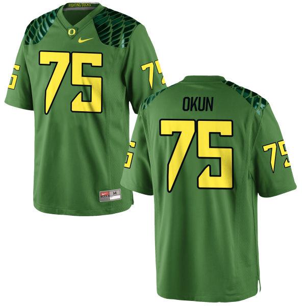 Men's Nike Zach Okun Oregon Ducks Game Green Alternate Football Jersey Apple