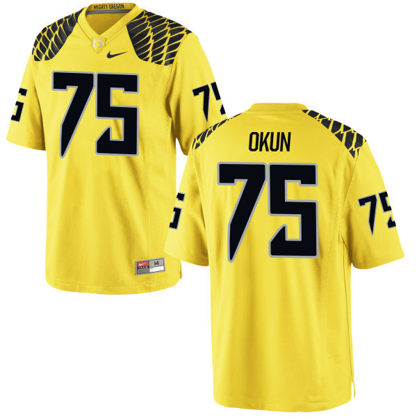 Men's Nike Zach Okun Oregon Ducks Game Gold Football Jersey