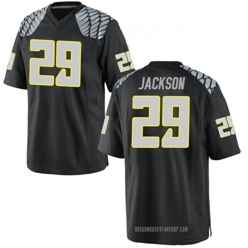 Men's Nike Adrian Jackson Oregon Ducks Game Black Football College Jersey