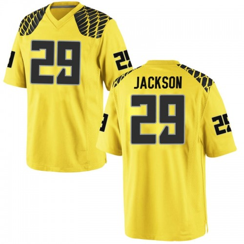 Men's Nike Adrian Jackson Oregon Ducks Game Gold Football College Jersey