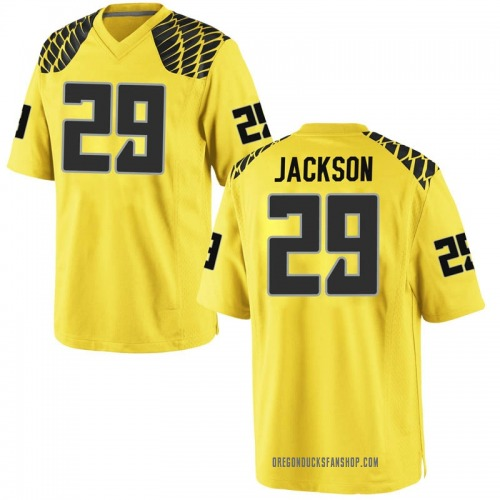 Men's Nike Adrian Jackson Oregon Ducks Replica Gold Football College Jersey
