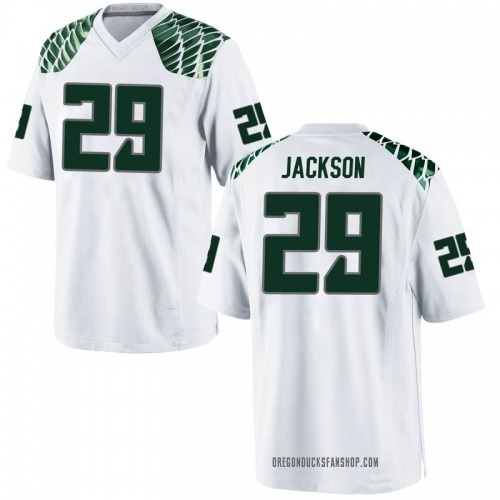 Men's Nike Adrian Jackson Oregon Ducks Replica White Football College Jersey