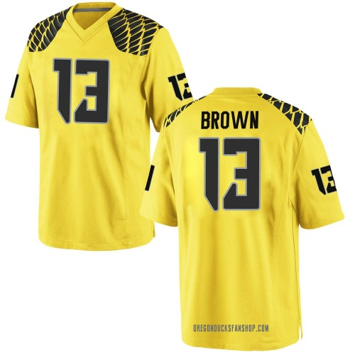 Men's Nike Anthony Brown Oregon Ducks Game Gold Football College Jersey