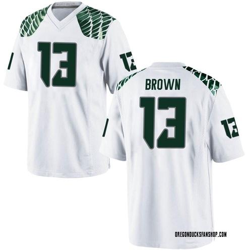 Men's Nike Anthony Brown Oregon Ducks Game White Football College Jersey