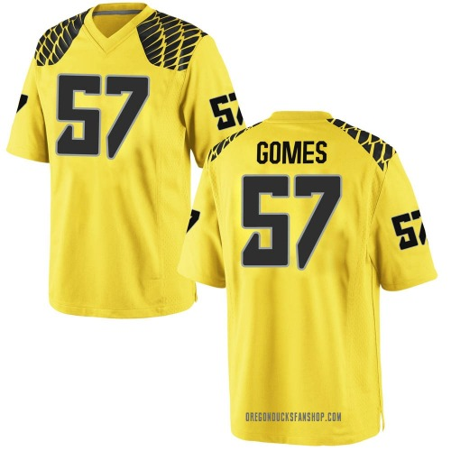 Men's Nike Ben Gomes Oregon Ducks Game Gold Football College Jersey