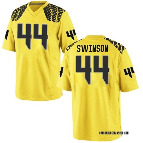 Men's Nike Bradyn Swinson Oregon Ducks Game Gold Football College Jersey