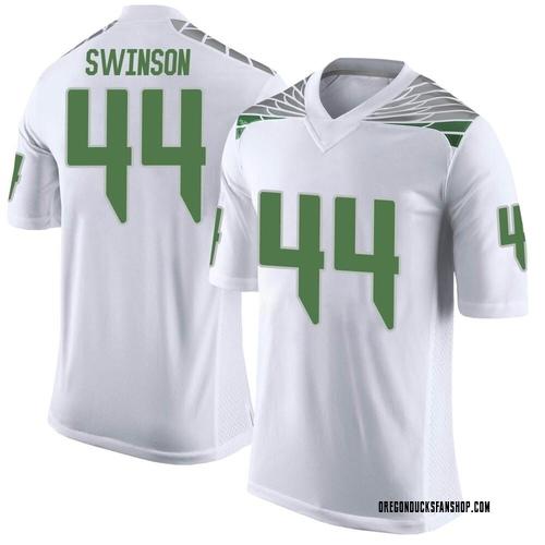 Men's Nike Bradyn Swinson Oregon Ducks Limited White Football College Jersey