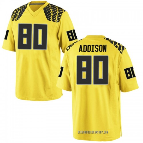 Men's Nike Bryan Addison Oregon Ducks Game Gold Football College Jersey