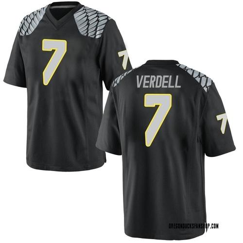 Men's Nike CJ Verdell Oregon Ducks Game Black Football College Jersey