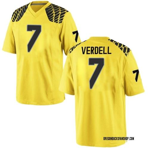 Men's Nike CJ Verdell Oregon Ducks Game Gold Football College Jersey
