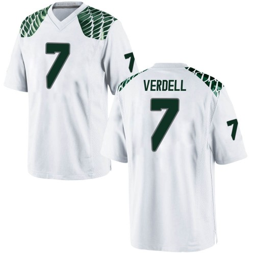 Men's Nike CJ Verdell Oregon Ducks Game White Football College Jersey