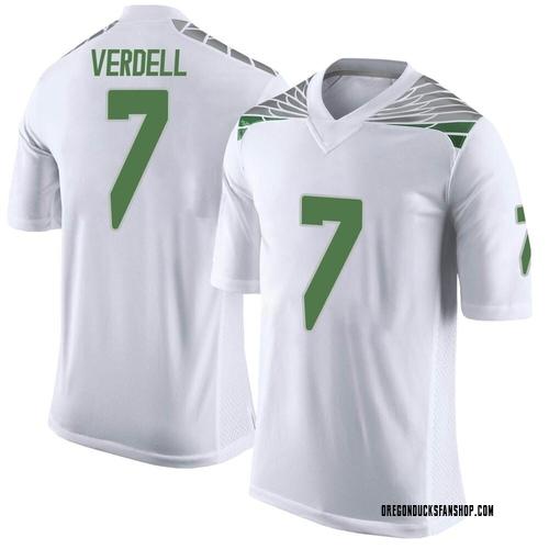 Men's Nike CJ Verdell Oregon Ducks Limited White Football College Jersey