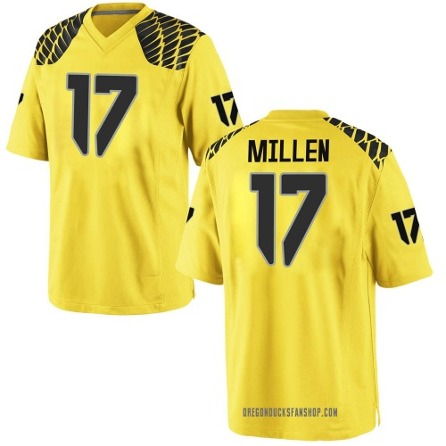 Men's Nike Cale Millen Oregon Ducks Game Gold Football College Jersey