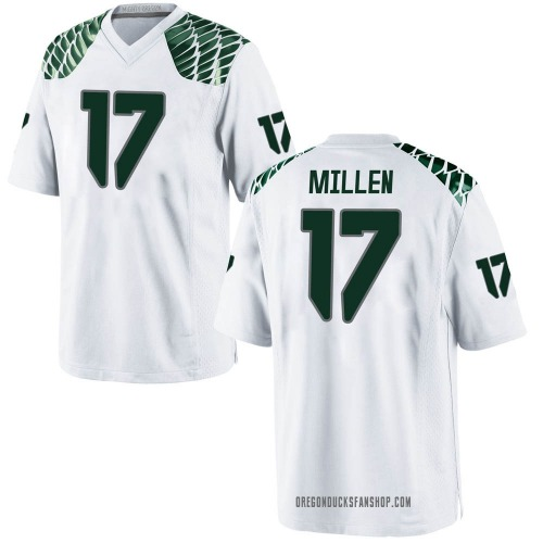Men's Nike Cale Millen Oregon Ducks Game White Football College Jersey