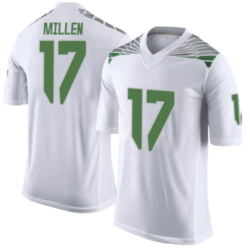 Men's Nike Cale Millen Oregon Ducks Limited White Football College Jersey