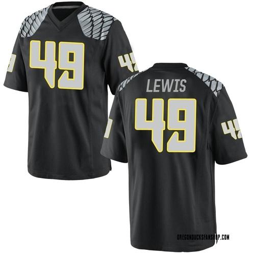 Men's Nike Camden Lewis Oregon Ducks Game Black Football College Jersey
