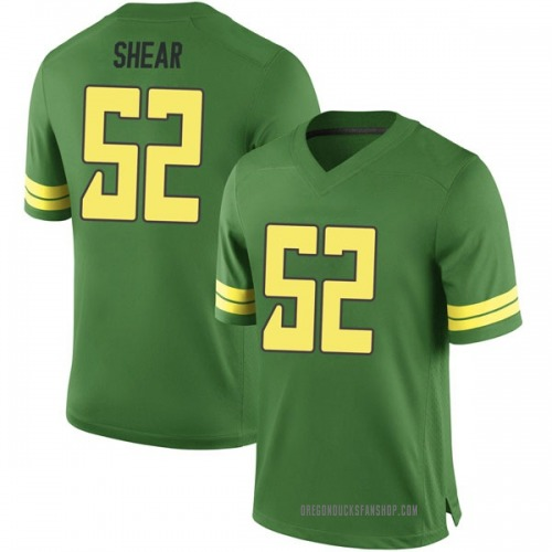 Men's Cody Shear Oregon Ducks Game Green Football College Jersey