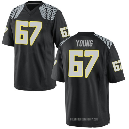 Men's Nike Cole Young Oregon Ducks Game Black Football College Jersey