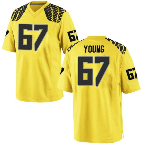 Men's Nike Cole Young Oregon Ducks Game Gold Football College Jersey