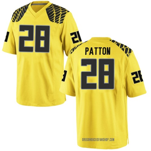 Men's Nike Cross Patton Oregon Ducks Game Gold Football College Jersey