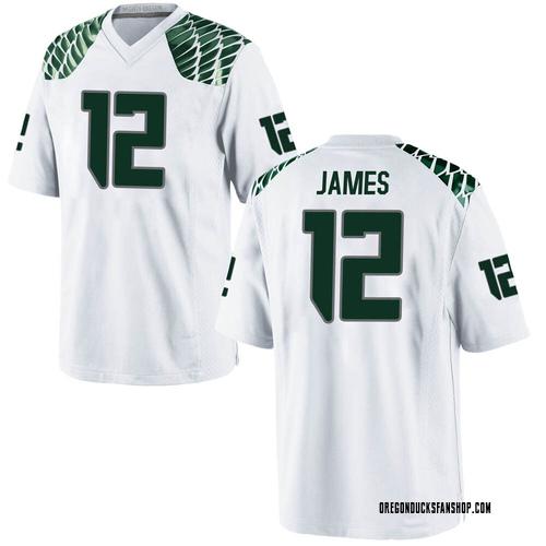 Men's Nike DJ James Oregon Ducks Game White Football College Jersey