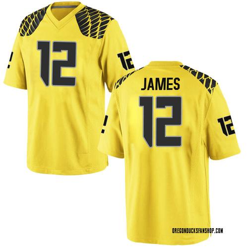 Men's Nike DJ James Oregon Ducks Replica Gold Football College Jersey
