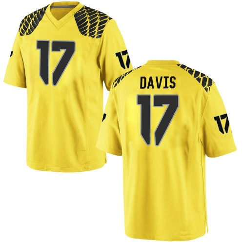 Men's Nike Daewood Davis Oregon Ducks Game Gold Football College Jersey