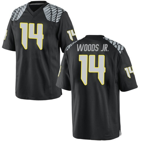 Men's Nike Haki Woods Jr. Oregon Ducks Game Black Football College Jersey