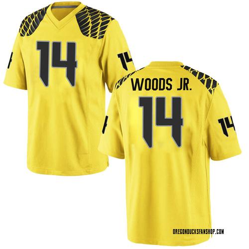 Men's Nike Haki Woods Jr. Oregon Ducks Game Gold Football College Jersey