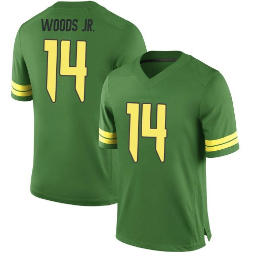 Men's Nike Haki Woods Jr. Oregon Ducks Game Green Football College Jersey