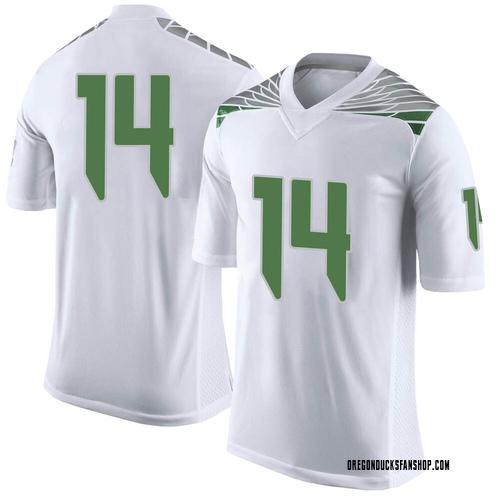 Men's Nike Haki Woods Jr. Oregon Ducks Limited White Football College Jersey