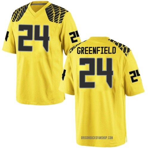 Men's Nike JJ Greenfield Oregon Ducks Game Gold Football College Jersey