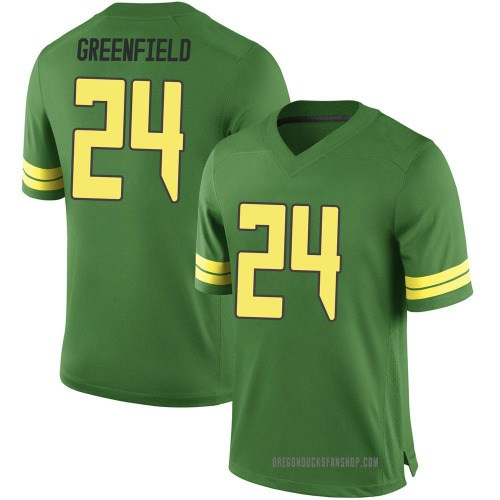 Men's Nike JJ Greenfield Oregon Ducks Game Green Football College Jersey