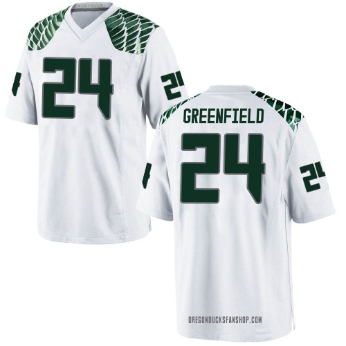 Men's Nike JJ Greenfield Oregon Ducks Game White Football College Jersey