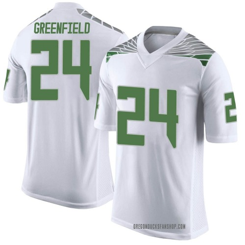 Men's Nike JJ Greenfield Oregon Ducks Limited White Football College Jersey