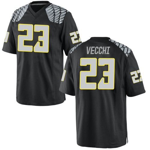 Men's Nike Jack Vecchi Oregon Ducks Game Black Football College Jersey