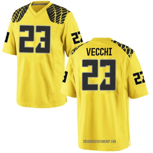 Men's Nike Jack Vecchi Oregon Ducks Game Gold Football College Jersey